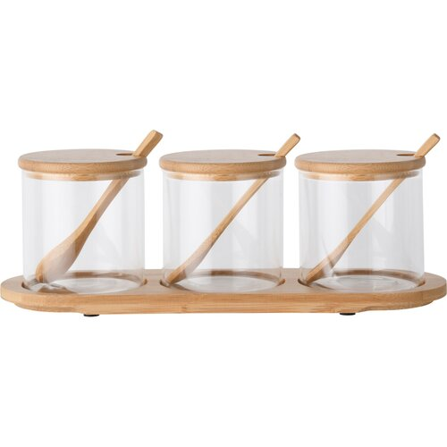 4home Sada sklenených dóz s podnosom a lyžičkami Bamboo, 310 ml