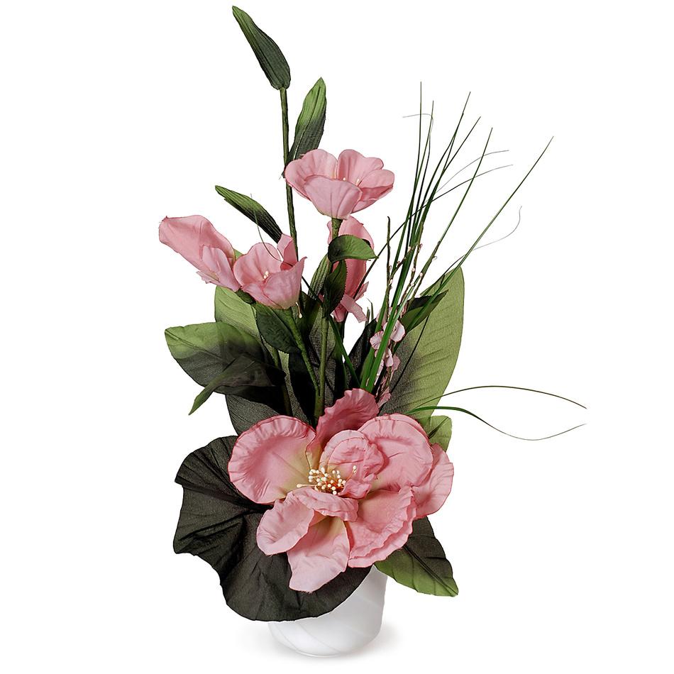 Aranžmá Ruže v kvetináči ružová, 50 cm