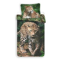 Leopard green gyermek pamut ágynemű, 140 x 200 cm, 70 x 90 cm