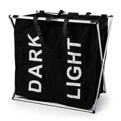 Koš na světlé a tmavé prádlo se stojanem, černá
