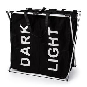 Sada košů na světlé a tmavé prádlo se stojanem, černá