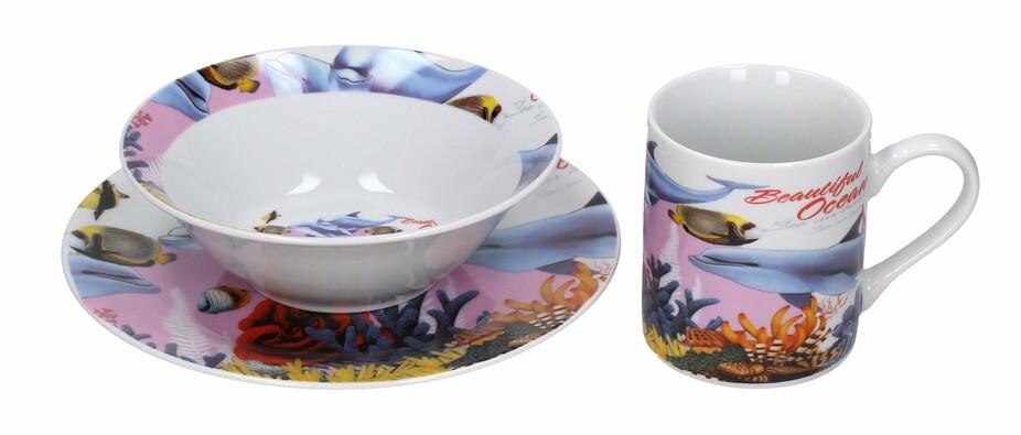 3dílná sada nádobí pro děti Mořský svět