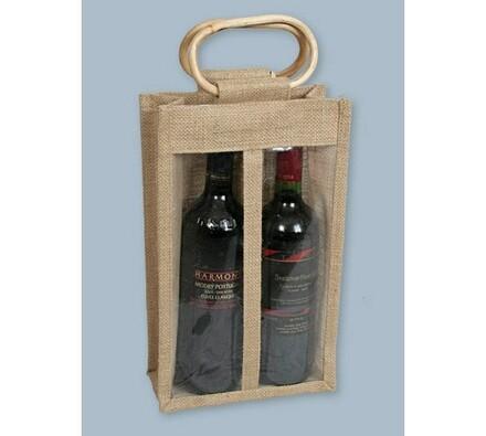 Juta-taška na 2 láhve, hnědá, 20 x 8 x 34 cm
