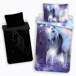 Dziecięca świecąca pościel bawełniana Unicorn glow, 140 x 200 cm, 70 x 90 cm