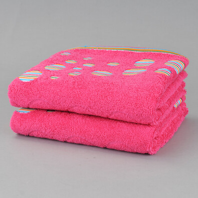 Sada bavlněných ručníků Kruhy, růžová, 50 x 90 cm, sada 2 ks
