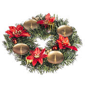 Vánoční dekorace s poinsetií pr. 25 cm, červená