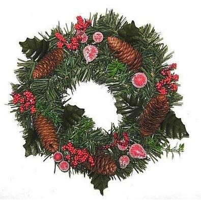 Dekorativní vánoční věnec, pr. 25 cm, zelená