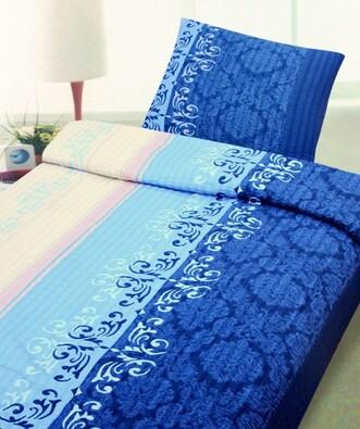 Krepové povlečení Rina modrá, 140 x 200 cm, 70 x 9, bílá + modrá, 140 x 200 cm, 70 x 90 cm