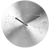 Nástenné hodiny World strieborná, 35 cm