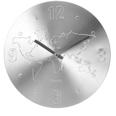 Ceas perete World argintiu, 35 cm