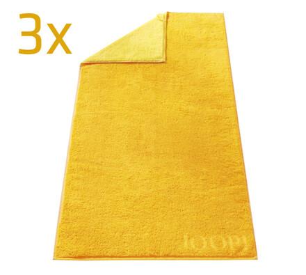 Ručník Doubleface JOOP! žlutý, 50 x 100 cm, sada 3, žlutá, 50 x 100 cm
