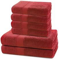 DecoKing Sada uterákov a osušiek Marina červená, 4 ks 50 x 100 cm, 2 ks 70 x 140 cm