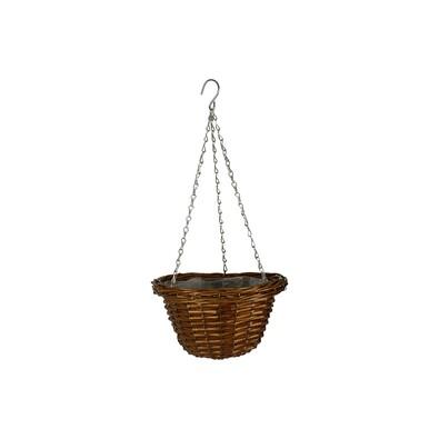Závěsný proutěný košík na květiny 23 cm, hnědá