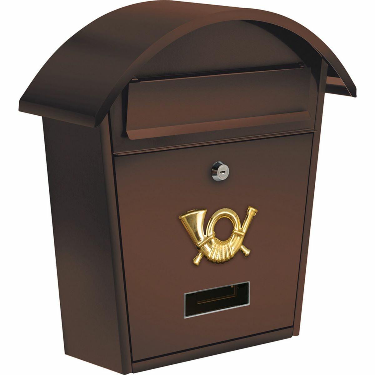 Vorel Poštovní schránka s oblou stříškou hnědá, 38 x 32 x 10,5 cm