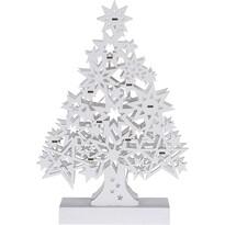 Pom de Crăciun Lamezia, din lemn, alb, 10 LED