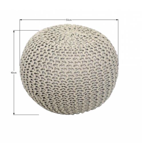 Produktové foto Tempo Kondela Pletený taburet Gobi 1, krémová