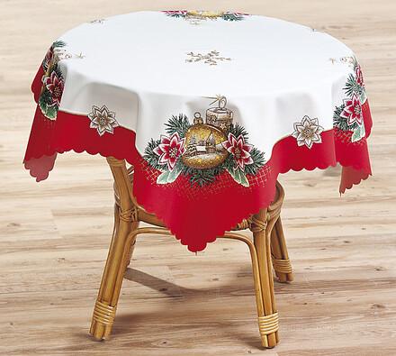 Vianočný obrus SVITAP červený lem, 85 x 85 cm, biela + červená, 85 x 85 cm