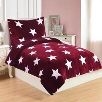 Lenjerie de pat Stars Wine, din micro-pluș, 140 x 200 cm, 70 x 90 cm