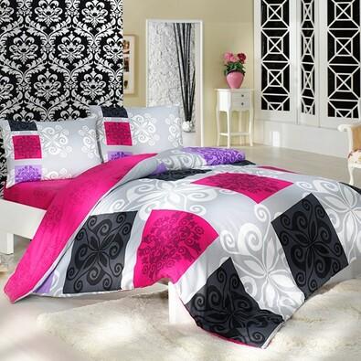 Bavlněné povlečení Sedef růžová, 160 x 200 cm, 2 ks 70 x 80 cm