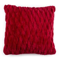 Szőrös párnahuzat varrattal piros, 45 x 45 cm