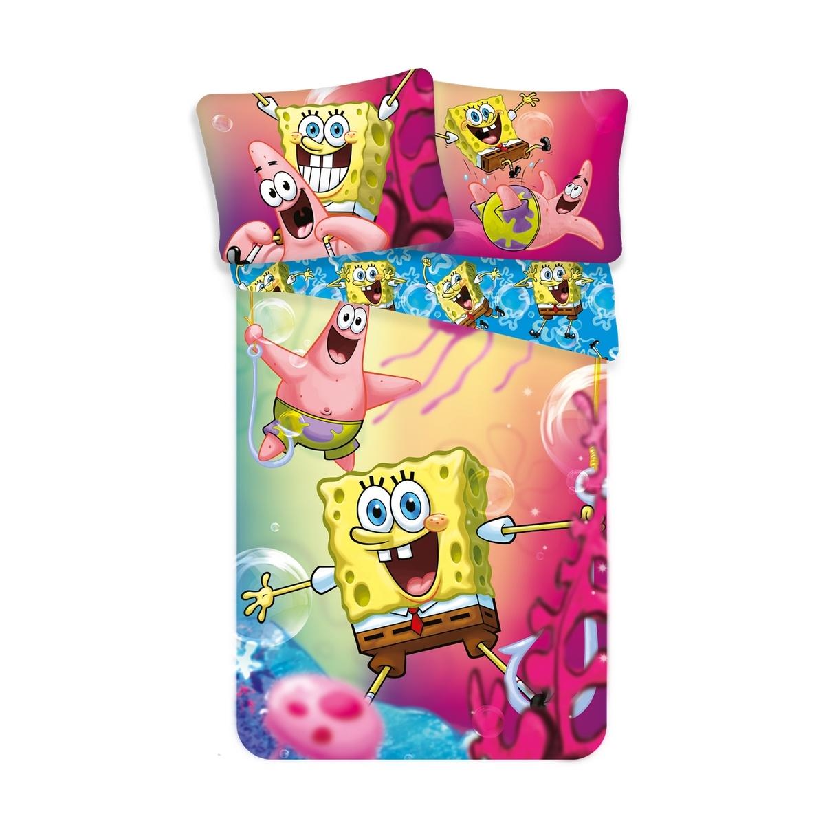 Jerry Fabrics Dětské bavlněné povlečení Sponge Bob, 140 x 200 cm, 70 x 90 cm