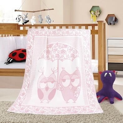 Pătură de copii Nela Bufniță, roz, 100 x 140 cm