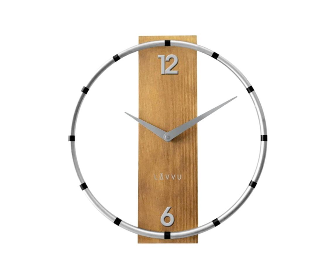 Ceas de perete Lavvu Compass Wood argintiu diam. 31 cm