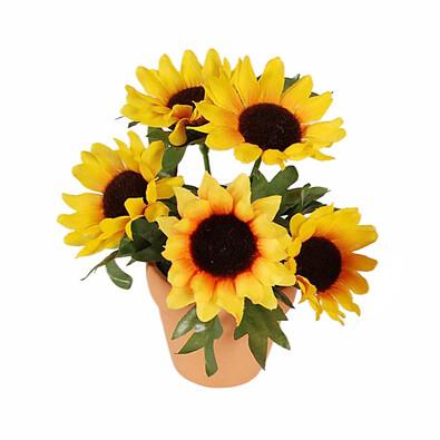 Umělá květina slunečnice v květináči, žlutá, žlutá
