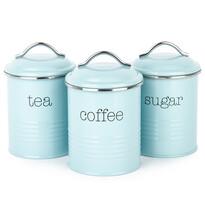 Koopman Komplet pojemników do kawy, herbaty i cukru, niebieski