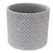 Keramický obal na kvetináč Ornamental sivá, pr. 13,5 cm