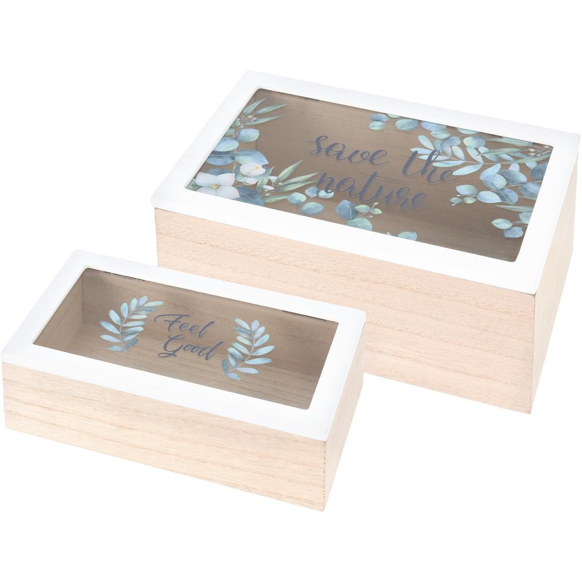 Sada dekoračních boxů se skleněným víkem Nature, 2 ks