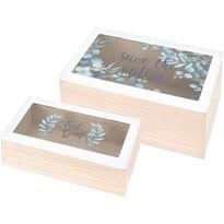 Zestaw pudełek dekoracyjnych ze szklaną pokrywą Nature, 2 szt.