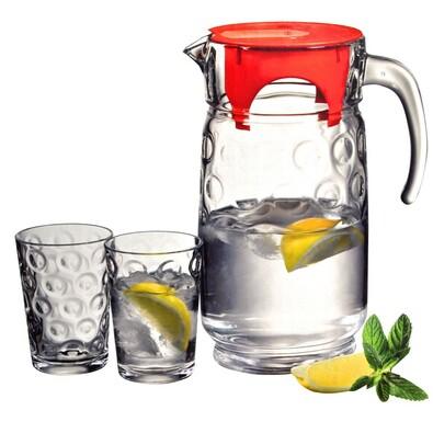 Set džbánu a šiestich pohárov, transparentná