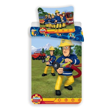 Detské bavlnené obliečky Požiarnik Sam 008, 140 x 200 cm, 70 x 90 cm