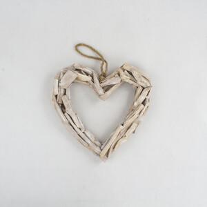 Závěsná dekorace Dřevěné srdce, 38 cm