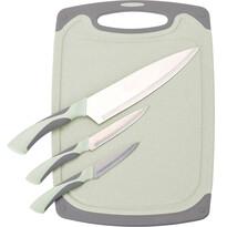 3-częściowy komplet noży z deską Excellent, zielony