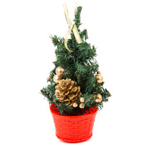 Vánoční stromek s mašlí zlatá, 20 cm