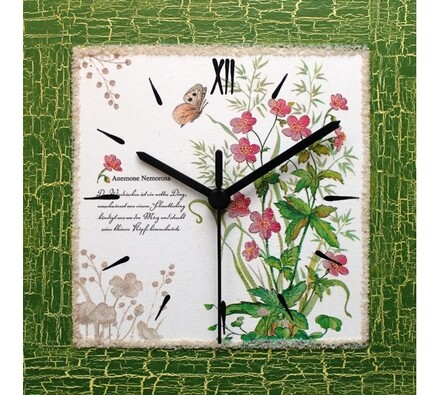 Dekorativní nástěnné hodiny Herbář, zelená, 22 x 22 x 2 cm