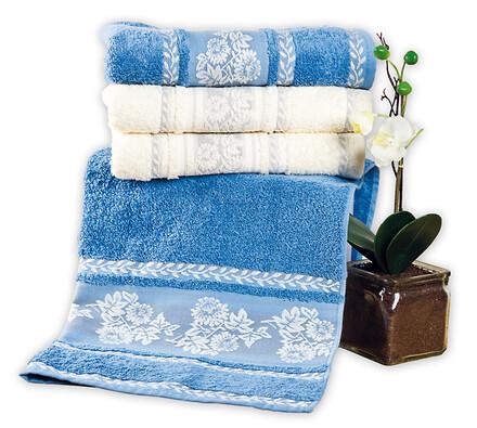 Bavlněné ručníky s bordurou, 50 x 90 cm