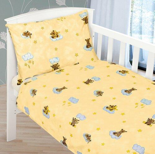 Beáta gyermek pamut ágynemű kiságyba Kismackó, világossárga, 100 x 135 cm, 45 x 60 cm