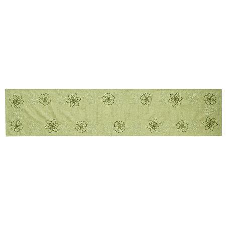 Vyšívaný ubrus Květy na zelené, 35 x 160 cm