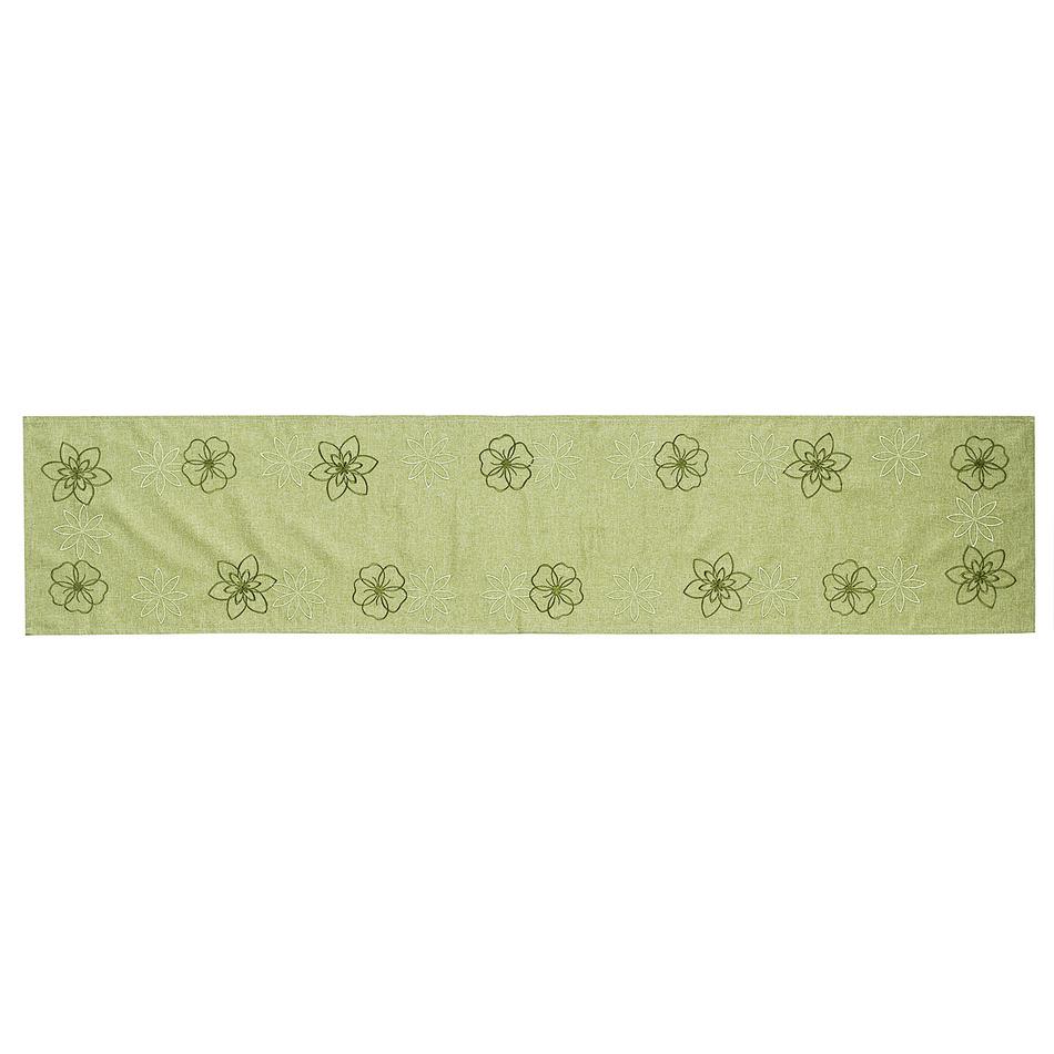 Forbyt Vyšívaný obrus Kvety na zelenej, 35 x 160 cm, 35 x 160 cm