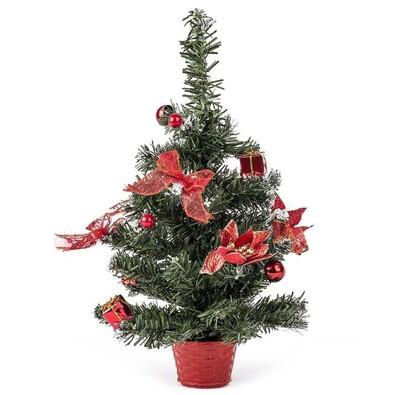 Vánoční stromeček zdobený červená