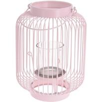 Felinar cu sticlă Lagata roz, 16,5 x 23 cm