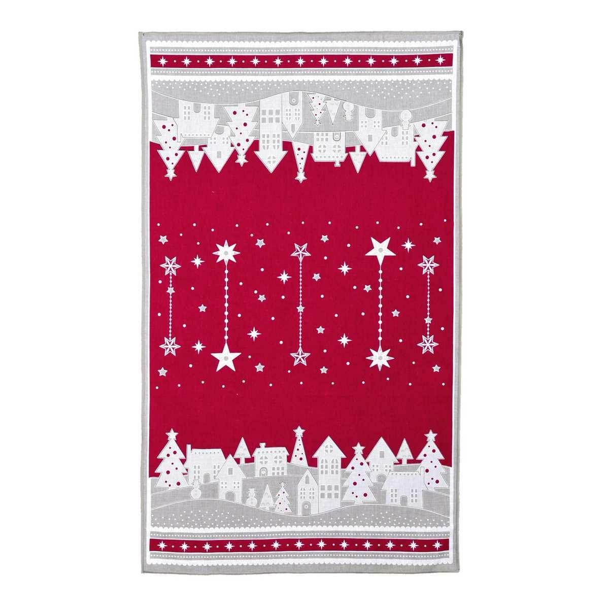 Forbyt Vánoční utěrka Zimní vesnička červená, 45 x 70 cm