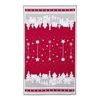 Prosop de Crăciun Sat înzăpezit, roșu, 45 x 70 cm