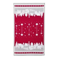 Téli kisfalu karácsonyi törlőruha, piros, 45 x 70 cm