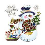 Vánoční okenní dekorace sněhulák 2 ks