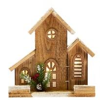 Căsuță din lemn, cu iluminat, 21 x 21 x 6 cm