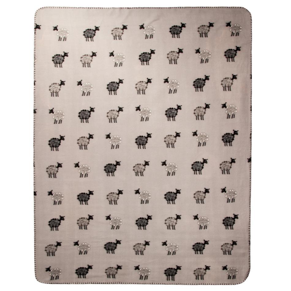 VOG Fleecová deka Ovečky šedá, 130 x 170 cm